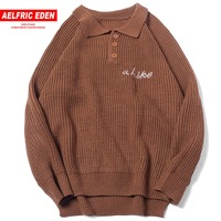 Aelfric Eden Harajuku Letter Embroidery Mens Knitted Pullover Sweaters 2018 Fashion Hip Hop Casual Male Sweater Streetwear MC09