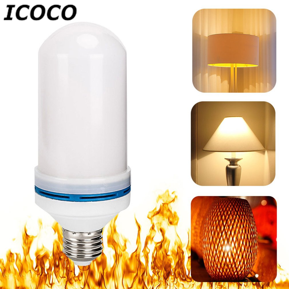 ICOCO E26 LED Lamp Flame Effect Fire Light Bulbs Flickering Emulation Flame Lights AC85-265V Atmosphere Decorative Lamps