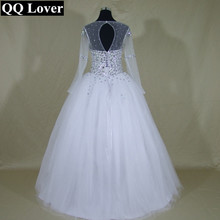 QQ Người Yêu 2019 Mới Quan Điểm Dài Tay Áo Bridal Gown Thạch Ngọc Trai Tinh Thể Bóng Gown Wedding Dress