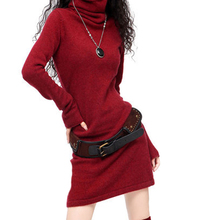 2019 New Autumn Winter Thick Cashmere Sweater Womens Pile Collar Long Section High Trumpet Sleeves Loose sleeves