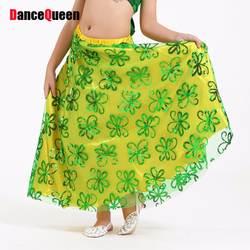 Новинка 2017 года Комплект Дети танец живота юбки полиэстер 8 Цвета один размер 1 шт. Детские костюмы танец живота Danca сделать Ventre индийский