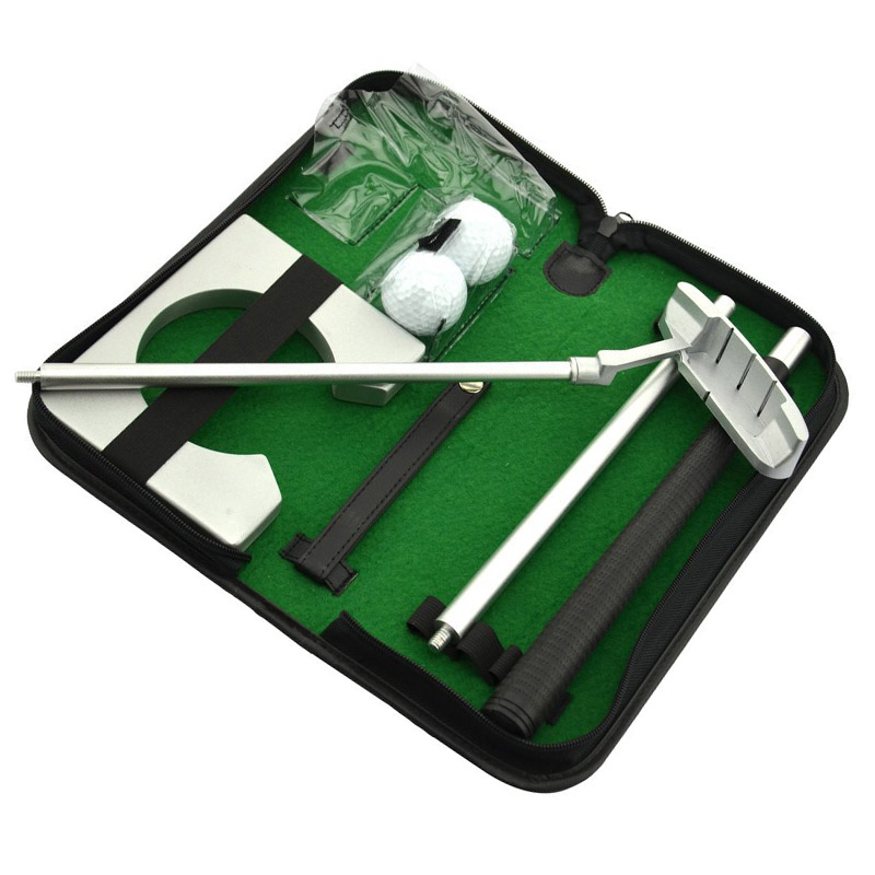 Portable Golf Putter Practicee Set Travel Indoor Golfs Ball Holder Putting Training Aids Tool With Carry Case Gifts B2Cs caiton portable golf putter set kit with ball hole cup for travel indoor golf putting practice top grade redwood golf gift
