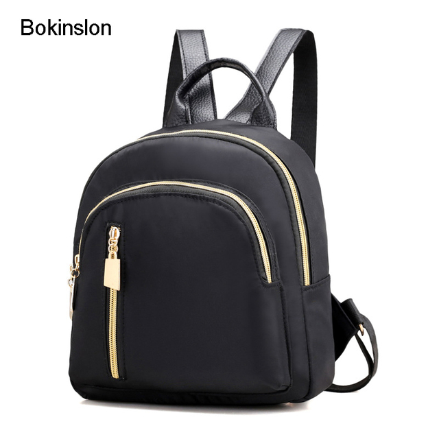 f7643c2913de Bokinslon Backpacks Bags Woman Nylon College Wind Female Backpacks Zipper  Solid Color Ladies Fashion Backpacks Bags