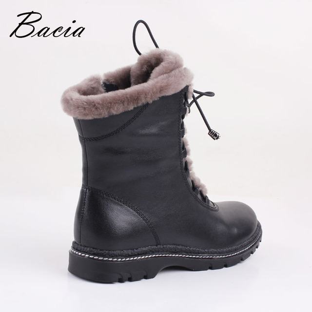 Bacia Winter Mid-Culf  Warm Wool Fur Boots Genuine Full Grain Leather Long Plush Snow Boots Women High Quality Flat Shoes VB054
