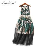 MoaaYina 2018 High Quality Fashion Designer Runway Dress Summer Women Spaghetti Strap Mesh Embroidery Casual Holiday Beach Dress