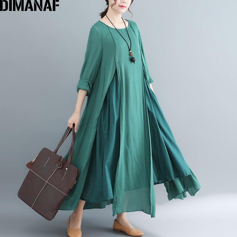 544c5369c5d DIMANAF Women Long Dresses Cotton Linen Elegant Ladies Vestidos Autumn Plus  Size Female Clothes Loose Spliced