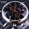 Jaragar Obscura Redemoinho Moda 3 Projeto de Discagem Diamante Mostrador de Ouro Preto de Couro Genuíno Dos Homens Assistir Top Marca de Luxo Relógio Automático