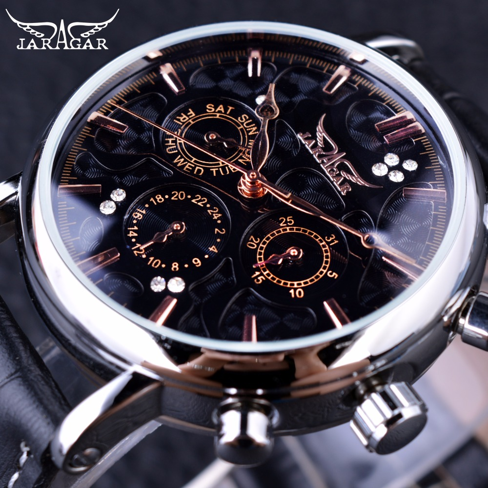 Jaragar Obscure Swirl Fashion 3 Dial Design Diamond Black Golden Dial Genuine Leather Men Watch Top
