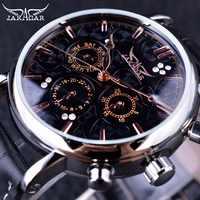 Jaragar Obscure Swirl Fashion 3 Dial Design Diamond Black Golden Dial Genuine Leather Men Watch Top Brand Luxury Automatic Watch