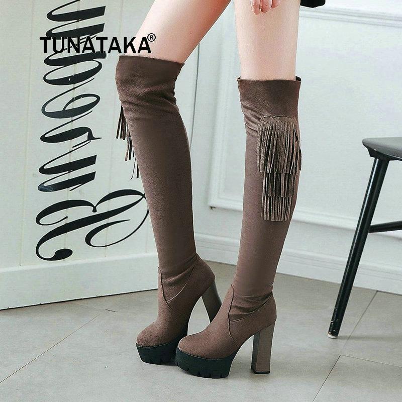 Flock Platform Square High Heel Woman Over The Knee Boots Fashion Fringe Ladies Thigh Boots Black Khaki Gray