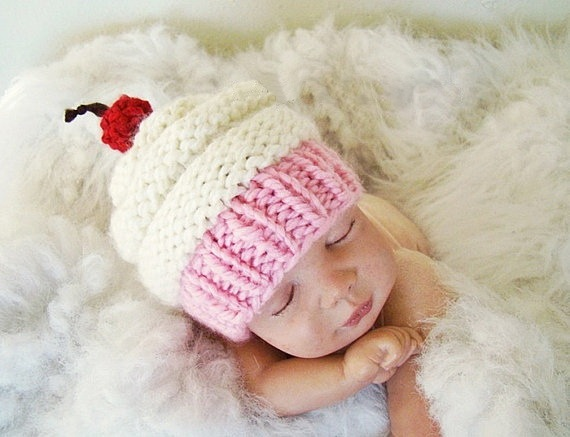 Free Shipping Newborn Baby Cupcake Hat Baby Girl Hat Knit
