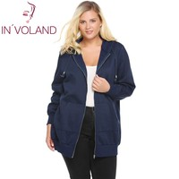 IN'VOLAND Women's Hooded Hoodies Big Size Autumn Winter New Zip Solid Casual Jacket Fleece Hoodies Coat With Pocket Plus Size