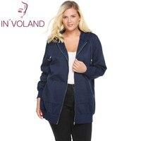 IN'VOLAND Women's Hooded Hoodies Big Size Autumn Winter New Zip Solid Casual Jacket Fleece Hoodies Coat With Pocket Plus Size
