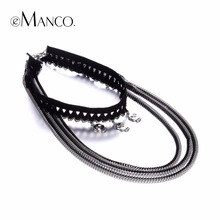 eManco Fashion Lolita Stretch Lace Multilayers Choker Necklaces & Pendants for Women Alloy Chain Jewelry Anime Accessories