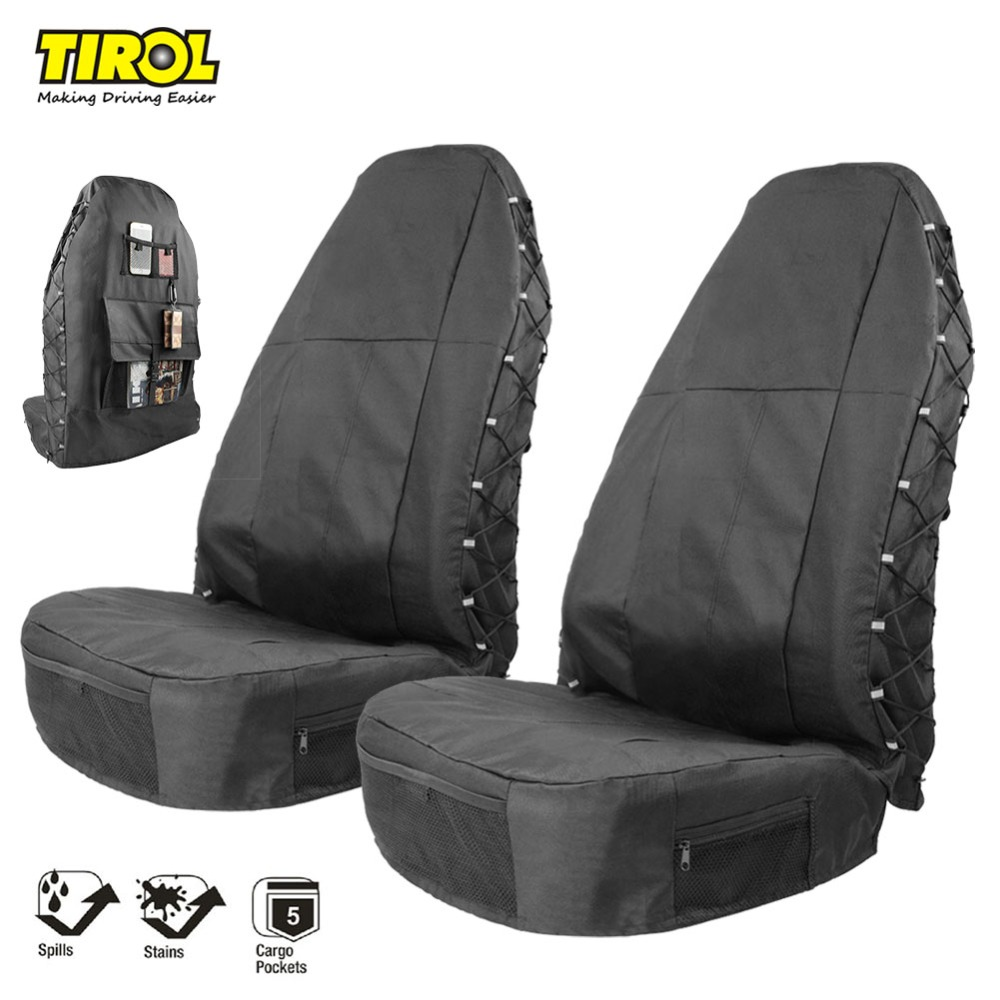 TIROL Waterproof Universal Oxford Car Bucket Seat Cover with Multi Pockets Organizer Storage High Back Seat