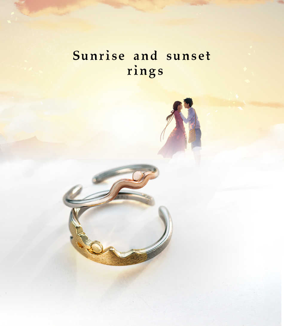 559401a1ceff5 Thaya Sunrise and Sunset Rings S925 Silver Rose Gold Simple Round Wave  Comfort Fit Natural Ring for Lover Couple Women Jewelry