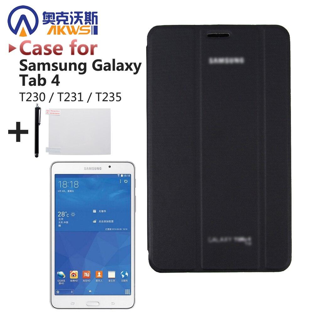Slim PU cuero Tablet caso cubierta de libro para Samsung Galaxy Tab 4 7,0 T230 T231 T235 (SM-T230) + Protector de pantalla + Stylus Pen
