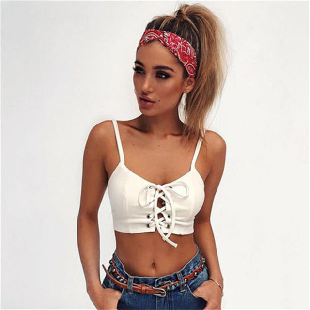 Sexy Summer Style Women Cross Bandage Padded Bralette Bralet Bra Bustier Crop-Tops Strap Solid Short Cami Tank Tops Sexy Costume