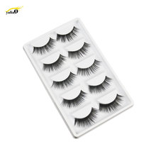 YALIAO Natural Long 5 Pairs False Eyelashes Thick Fake Black Soft 100% Handmade Eyelash Extension Makeup Tools