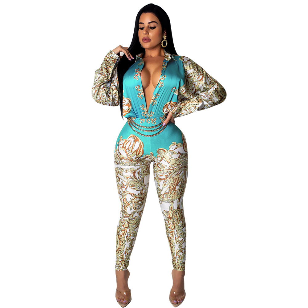 Women Jumpsuit   Romper   Long Sleeve Sexy Vintage Chain Print Playsuit Overalls Long Trosers Elegant Office Ladies Casual Slim 2019