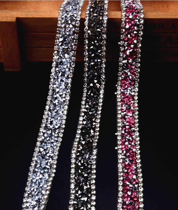 1 חצר שרשרת יהלומים מלאכותיים שרשרת ברזל על תיקונים קריסטל Rhinestones חרוזים Applique תחרת רצועת הכלים Trim עבור WeddingDress