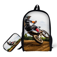 Motorcycles Design Print Backpack 2 Set School Bag And Pencil Case For Primary School Student BookBag Daily bag stationery