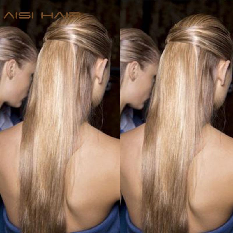 Långt blont hår Syntetiska klämmor i hårförlängningar Rak 22 - Syntetiskt hår - Foto 2