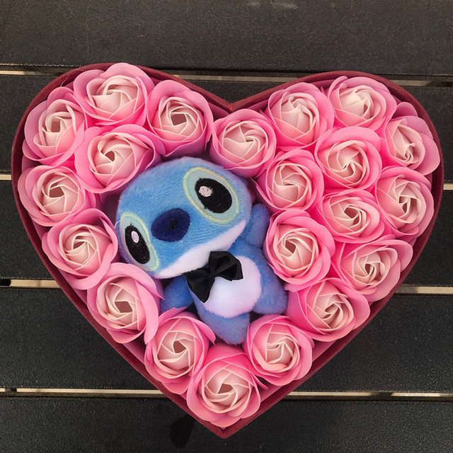 Artificial plush Lilo stitch toys with bouquets stich soap flowers Valentine's Day rustic weeding decoration for weddings favor 3
