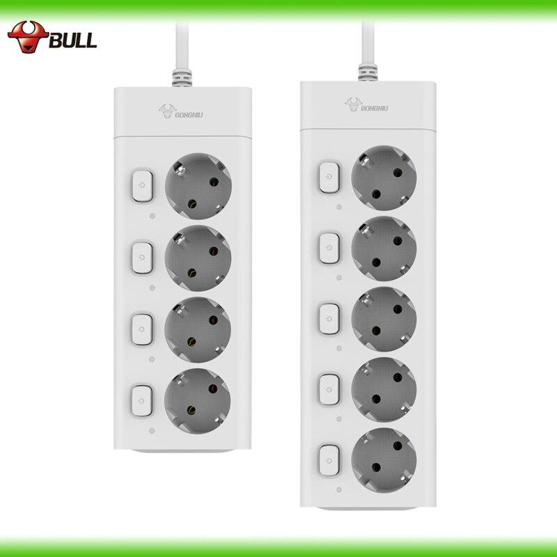 Bull Ue Plug Power Bande 3 m 10A 250 v 2500 w Électrique Socket UE Plug Extension Socket Surtension De Sortie protecteur UE Bande De Puissance