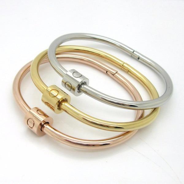 tienda online joyera oro plata titanio acero inoxidable marca de lujo con estilo tornillos de uas mujeres del brazalete pulsera de dimetro cm