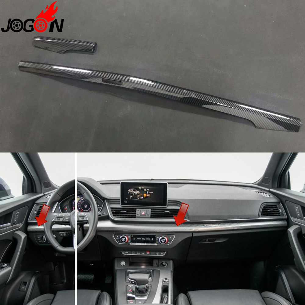 LHD Carbon Fiber Look For Audi Q5 FY 2018 2019 ABS Car Styling Interior Front Console Center Strip Cover Trim Molding accessories for chevrolet camaro 2016 2017 abs carbon fiber style the co pilot central control strip molding cover kit trim page 7