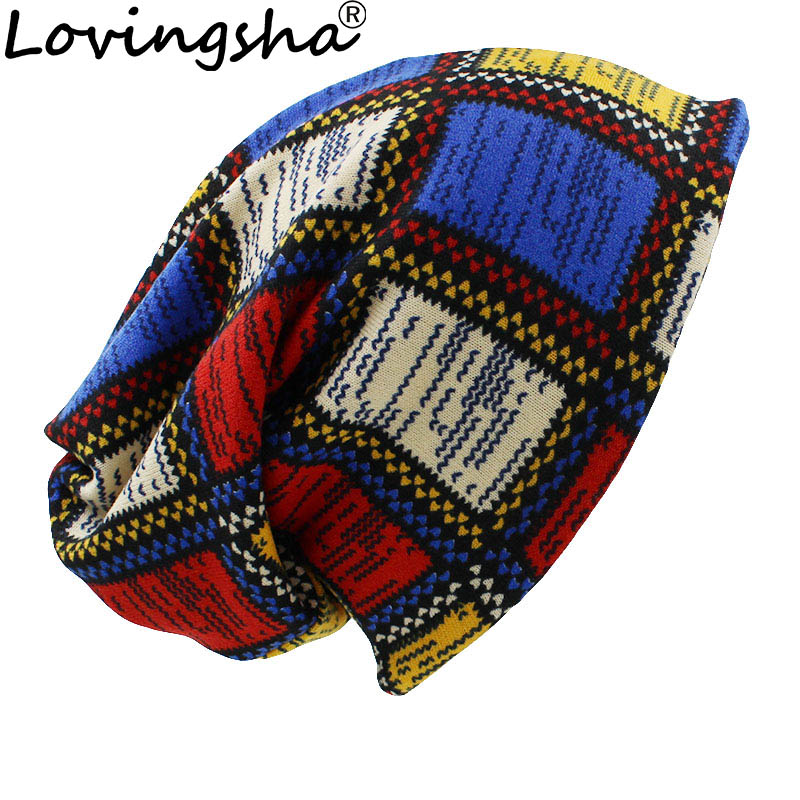 LOVINGSHA Brand Dual-use Winter Autumn Hats For Women Ladies thin   Skullies     Beanies   Vintage Design Women Scarf Face Mask HT040