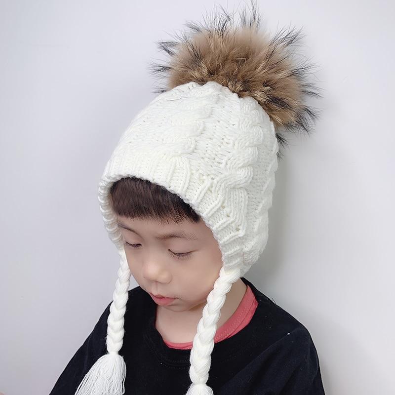 Kids Beanie Baby Real Fur Pompom Hat Earflap Skullies Fleece Inside Twist Knitted Winter Cap For Girls Boys