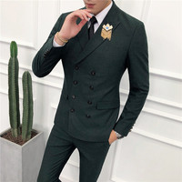 Loldeal Double Breasted Green Men Suits Terno Slim Fit 2 Pieces Party Tuxedo for Men