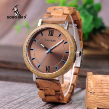 BOBO BIRD Wooden Watches Men Quartz Clock Metal back cover Q