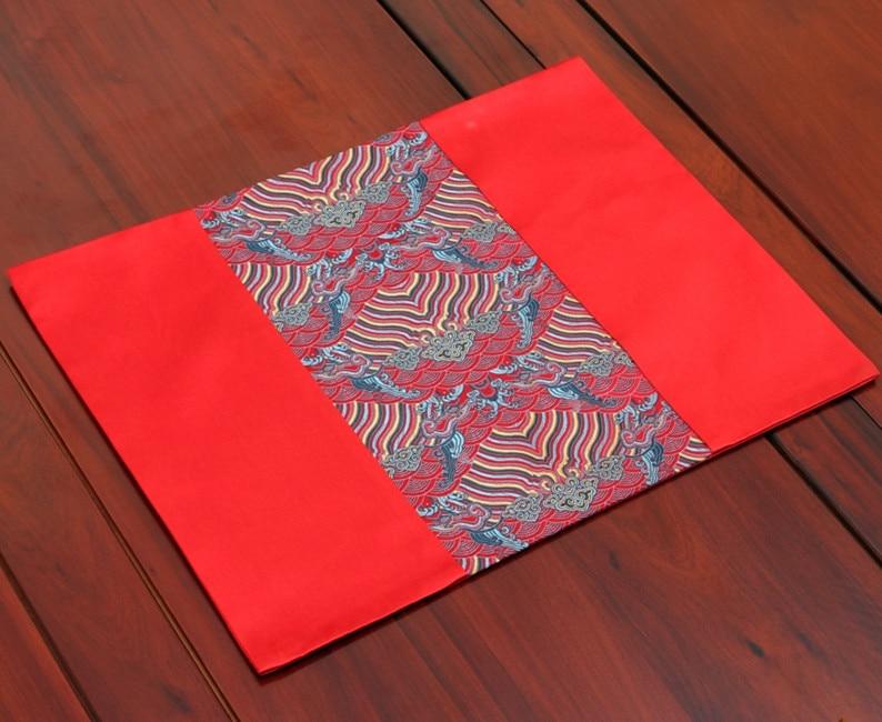 Лоскутное прямоугольник обеденный стол коврик Водонепроницаемый китайский стиль натуральный шелк столовых Роскошные поддон коврики Кофе ...