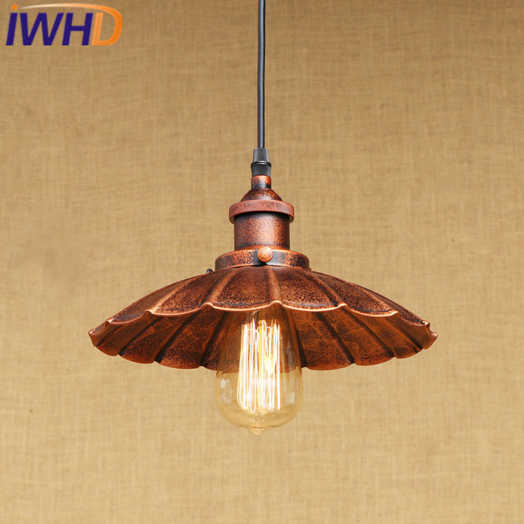 IWHD Loft Industrial Hanging Lamp LED Iron Retro Vintage Pendant Lights Fixtures Kitchen Dining Bar cafe Pendant Lighting