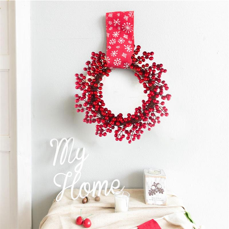 Image 4 - 2019 New Creative Christmas Wreath Artificial Berry Hanging Wreath Door Wreath For Home Yard Decor Christmas Hanging Ornament-in Wreaths & Garlands from Home & Garden