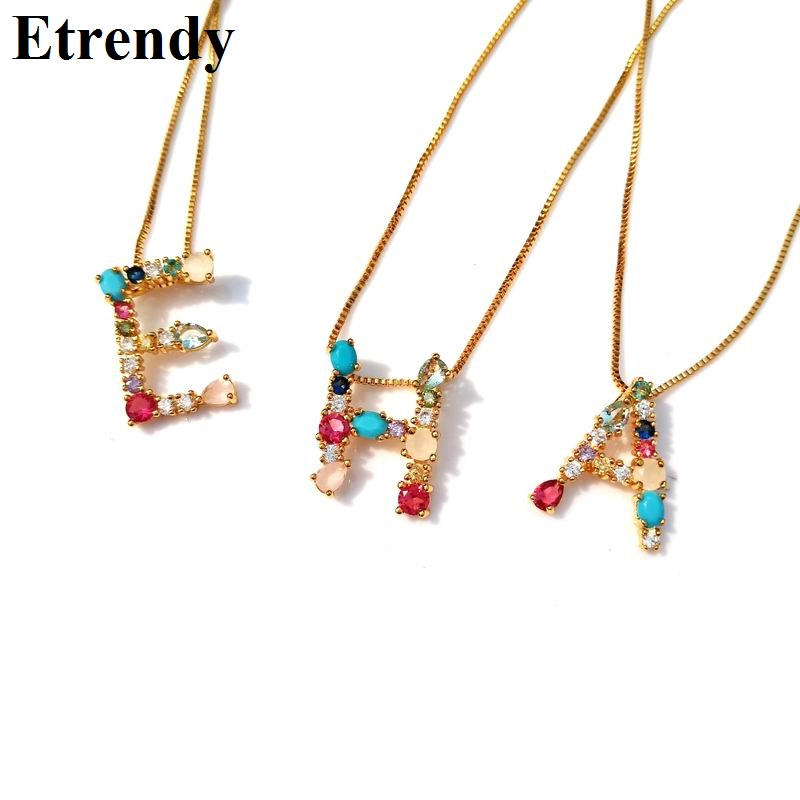 2019 New Colorful Stone 26 Letter Necklace For Women Girls Gold Color Chain Alphabet Necklaces & Pendants Name Jewelry Bijoux2019 New Colorful Stone 26 Letter Necklace For Women Girls Gold Color Chain Alphabet Necklaces & Pendants Name Jewelry Bijoux