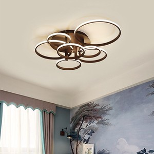 Image 4 - 現代のledシャンデリアホームリビングルーム天井器具ブラックホワイトランプとリモコンの寝室の照明光沢