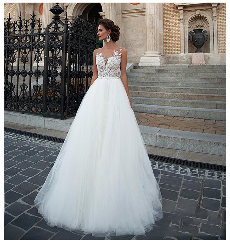 SoDigne Sleeveless Wedding Dress 2019 Beach Bridal Gown Tulle Lace Appliques Wedding Dresses White/Lvory Romantic Buttons
