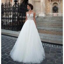 SoDigne свадебное платье без рукавов пляжный тюль для платья невесты с кружевной аппликацией свадебное платье es белый/Lvory романтические пуговицы