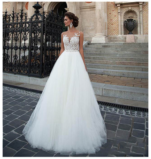 Us 83 51 42 Off Sodigne Sleeveless Wedding Dress 2019 Beach Bridal Gown Tulle Lace Appliques Wedding Dresses White Lvory Romantic Buttons In Wedding