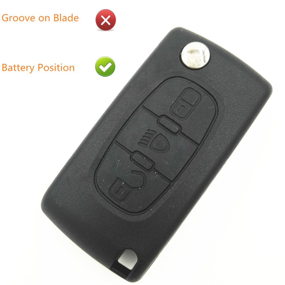 3 Buttons Car Cover Replacement Flip Key Case Blank Shell Light Button For Peugeot Key 307 407 207 With Battery Place No Groove image