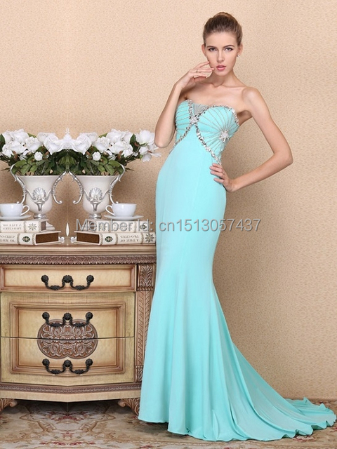 Beautiful Prom Dress Light Blue Fishtail Skirt Party Ball Gown Custom 2015  Latest Handmade Beaded Elegant Evening Dress 22dc27da49bf