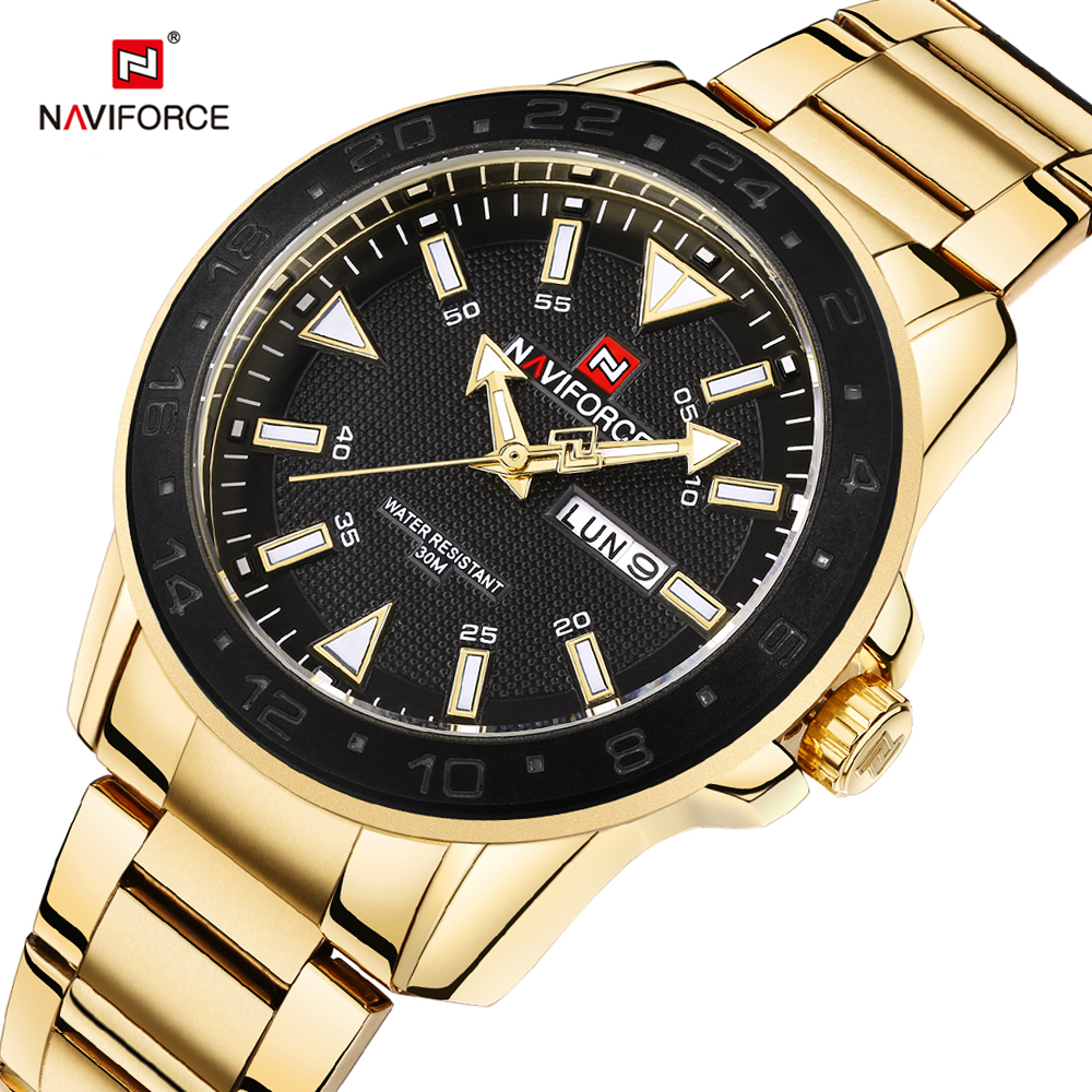 NAVIFORCE Top Luxury Brand Steel Gold Watches Mens Quartz Watch Business Week Display Waterproof Male Clock Relogio Masculino mce top brand mens watches automatic men watch luxury stainless steel wristwatches male clock montre with box 335