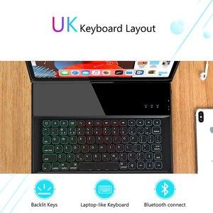 Image 4 - ג לי מסרק אלחוטי iPad מקלדת מקרה עבור iPad פרו 12.9 2018 מגן 7 צבעים תאורה אחורית Buletooth מקלדת עם עיפרון מחזיק
