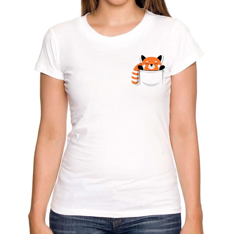 2017 New Printed Design Red Panda Women T shirts Fashion Summer Short Sleeve T-shirt Girl White T-Shirts