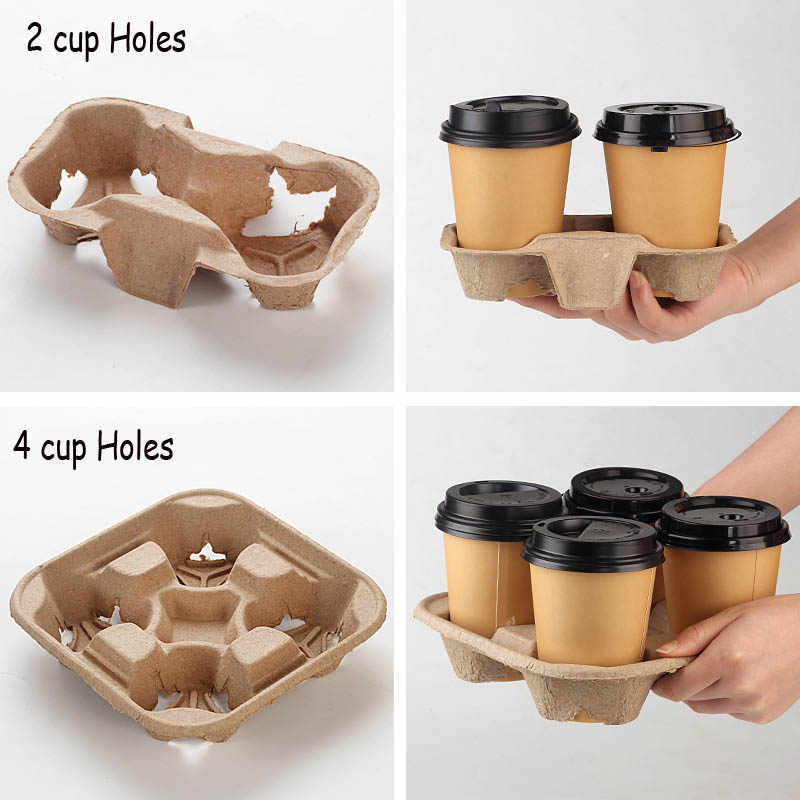 Disposable Paper Coffee Cup Holder Cafe Restaurant Packing Tools Holders Four Grids Take Away Drinks Shelf To Go Box 20pcs Set Set 2 Set Boxset Tools Aliexpress