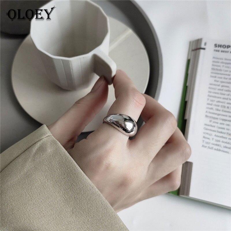 OLOEY 100% Solid 925 Sterling Silver Open Ring Women Men Japan Korean INS Minimalist Irregular Glossy Rings Fine Jewelry YMR854